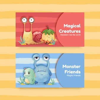 괴물 컨셉 디자인 수채화 일러스트와 함께 트위터 템플릿