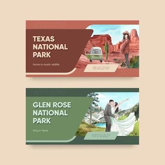 Шаблон twitter с национальными парками концепции соединенных штатов, акварельный стиль