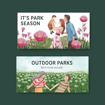 ソーシャルメディアの水彩イラストのための公園と家族のコンセプトデザインのtwitterテンプレート