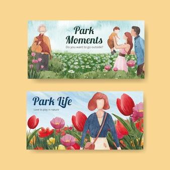 Modello di twitter con il parco e la famiglia concept design per l'illustrazione dell'acquerello di social media