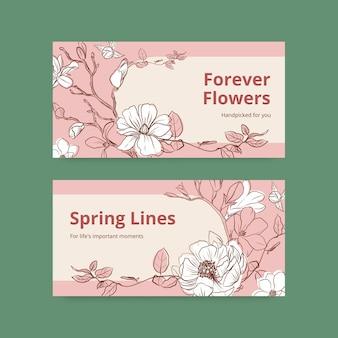 Modello di twitter con illustrazione dell'acquerello di disegno di concetto di arte di linea di primavera