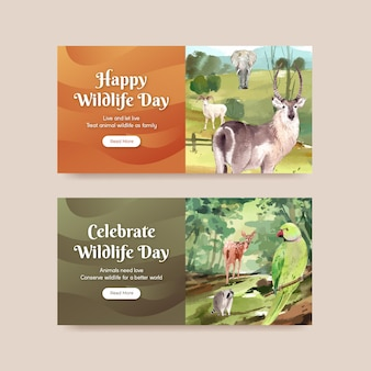 Twitter template with world animal day concept in watercolor style