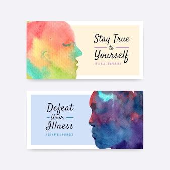 ソーシャルメディアとオンラインコミュニティの水彩ベクトルイラストを描くための世界メンタルヘルスの日コンセプトデザインのtwitterテンプレート。