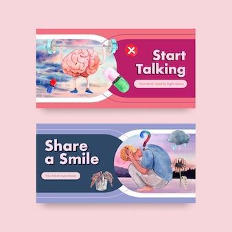 Шаблон twitter с концептуальным дизайном всемирного дня психического здоровья для социальных сетей и акварельной векторной иллюстрации онлайн-сообщества.