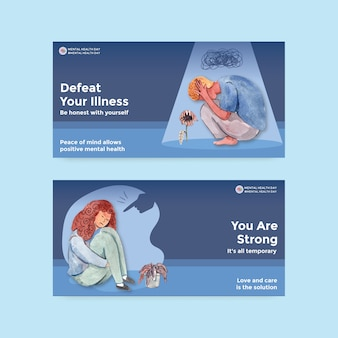 Twitter template with world mental health day concept design for social media and online community watercolor vector illustraion.