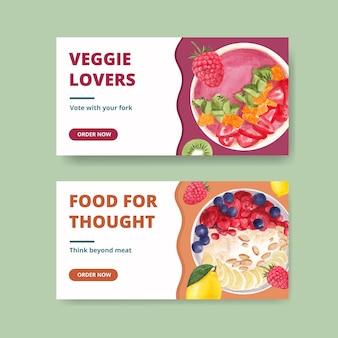 Шаблоны twitter к всемирному вегетарианскому дню в акварельном стиле