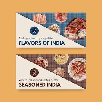 Modelli di twitter con cibo indiano