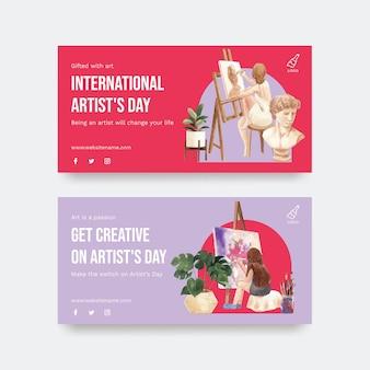 Шаблоны twitter с международным днем художника в акварельном стиле