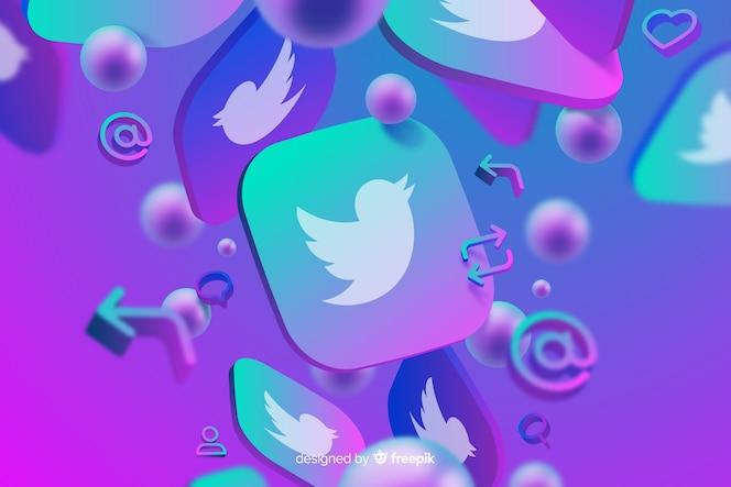 Twitterのロゴと抽象的な背景
