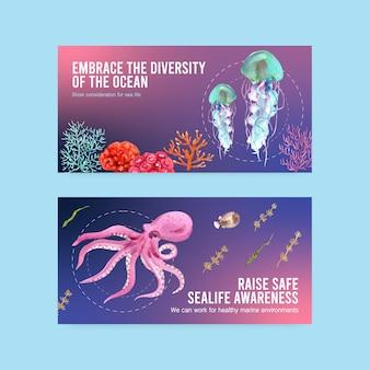 Дизайн шаблона twitter для концепции всемирного дня океанов с вектором акварельных животных, осьминогов, медуз и кораллов