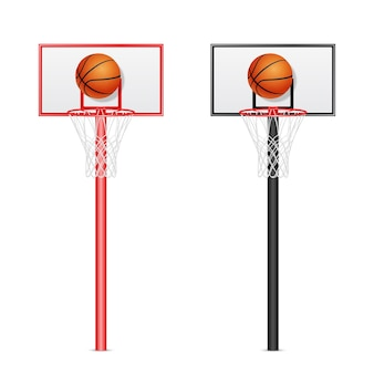 Two 3d realistic basketball backboards - red and black - with flying balls isolated on white background.