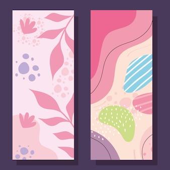 두 개의 abstracs 유기물 세트 일러스트 디자인
