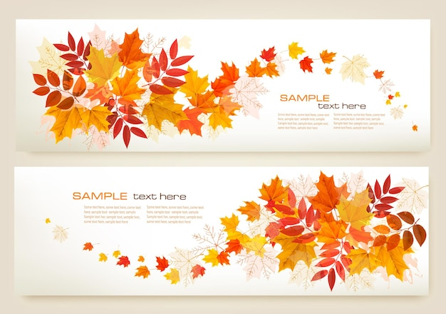 カラフルな葉のベクトルと2つの抽象的な秋のバナー