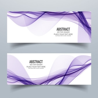 Two abstract banners with wavy purple lines