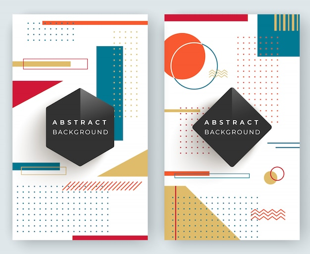 Two abstract retro vertical backgrounds with multicolored simple geometric shapes. triangles, circles, lines