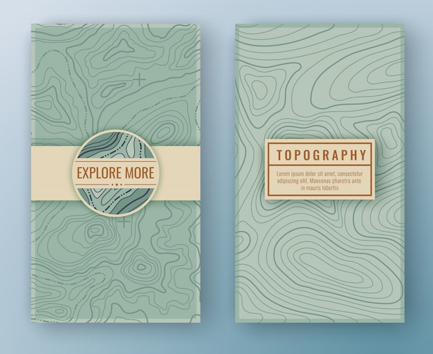 Two abstract retro vertical banners