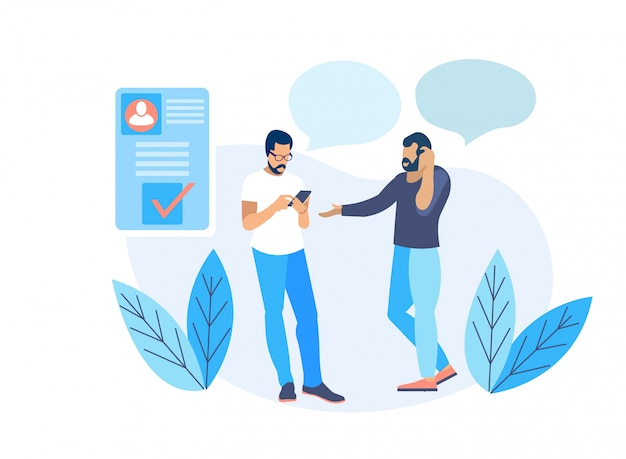 Two adult bearded men communicating via smartphone
