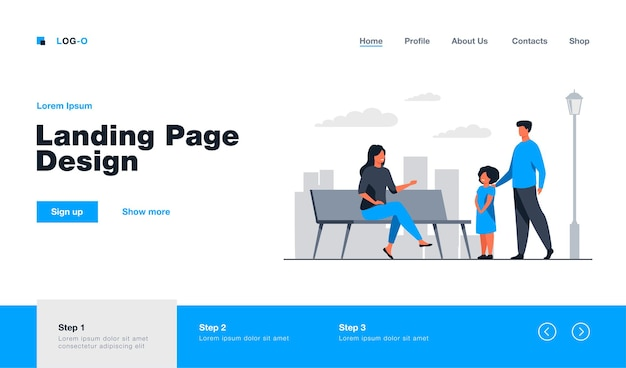 Two adults talking with girl in city park landing page template