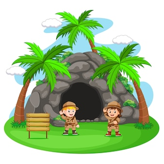 Two adventurer in front of cave