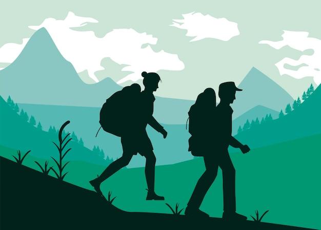 두 모험가 걷는 장면 프리미엄 벡터