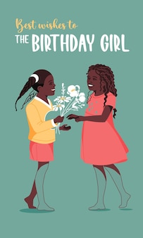 Two african american little girls congratulation and present flowers happy birthday greeting card