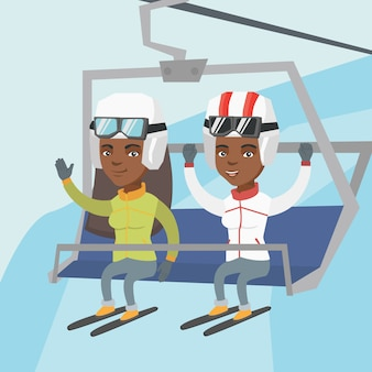 Two african-american skiers using cableway.