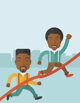ラインをフィニッシュするために実行している2つのアフリカ人。