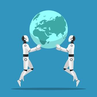 2台のaiロボットが協力して世界を育てます。人工知能とaiが世界の概念を支配しています。