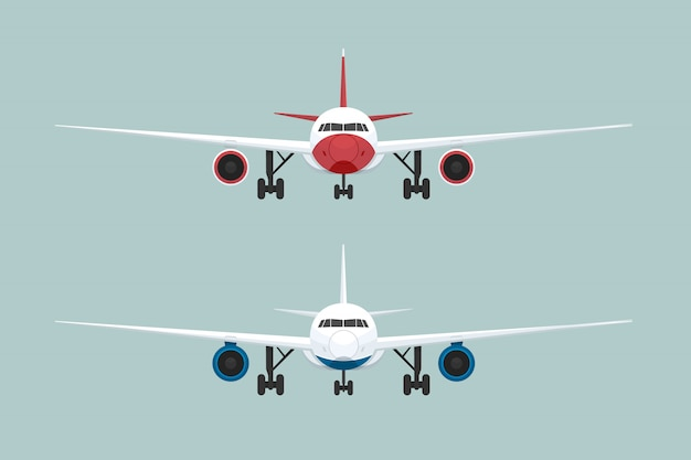 Two airplane front view. vector illustration