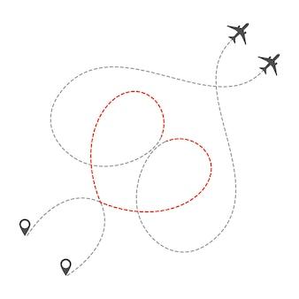 2機の飛行機がハートの形で破線でルーティングします。ロマンチックなバレンタインの日帰り旅行や休暇。飛行機で旅行するのが大好きです。孤立したベクトル図