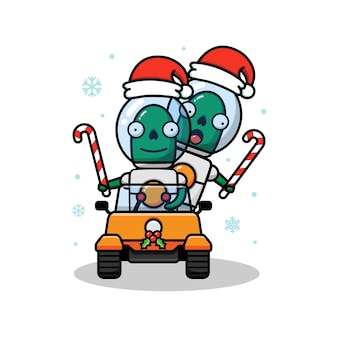 Two alien in christmas day