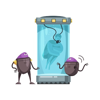 Two aliens carrying experiment on man in capsule with water cartoon