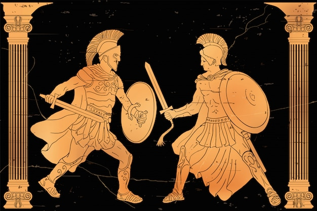 Two ancient greek warrior with a sword and a shield in his hands in battle.