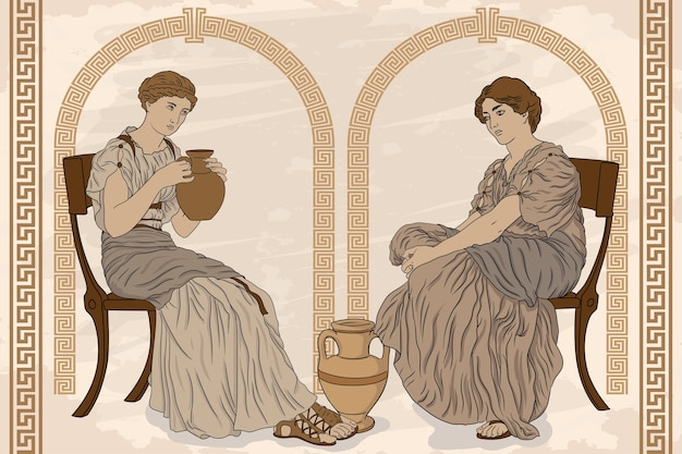 Two ancient greek woman sits on a chairs and drinks wine from a jug antique fresco on a beige background