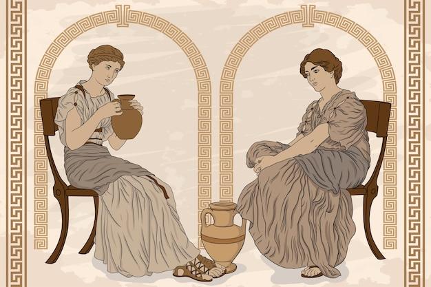 두 고대 그리스 여자는 의자에 앉아 베이지 색 배경에 용기 골동품 프레스코에서 와인을 마신다