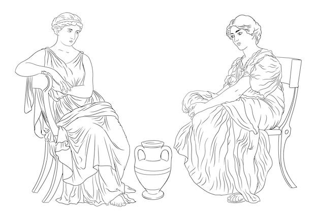 두 고대 그리스 여자는 흰색 배경에 고립 된 와인 그림의 용기 근처의 자에 앉아
