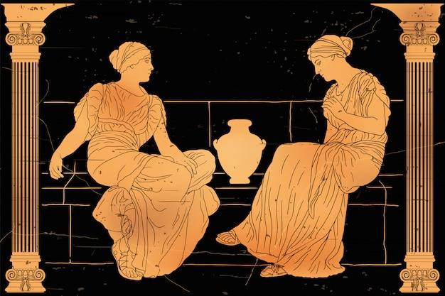 Две древнегреческие женщины сидят на каменном парапете с кувшином и общаются.