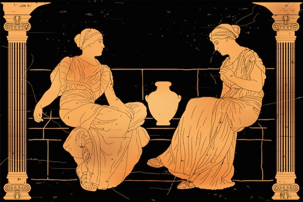 Two ancient greek women sit on a stone parapet with a jug and communicate.