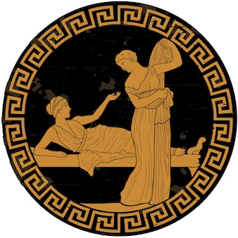 Two ancient greek young women in the bedroom are in dialogue. ancient painting.