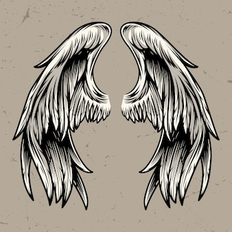 Two angel wings template