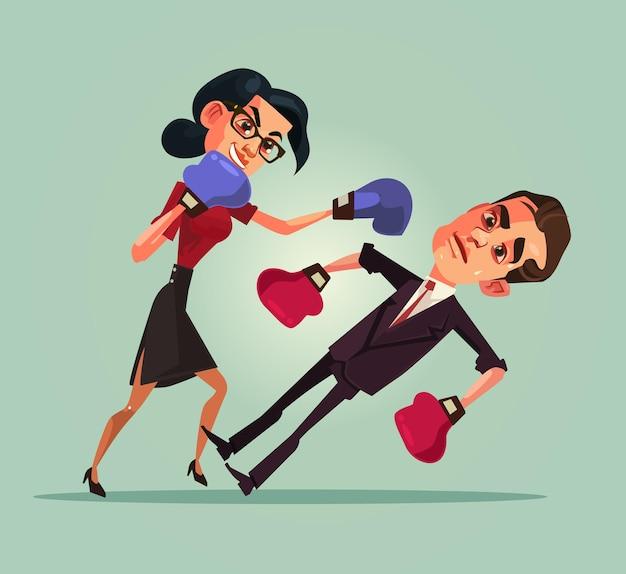 Два сердитых офисных работника, боксерские персонажи, концепция дискриминации, плоская карикатура