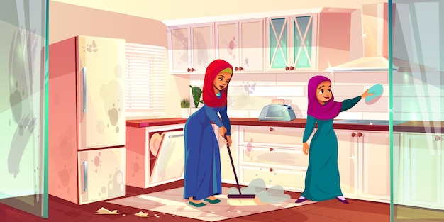 Two arabian ladies clean kitchen