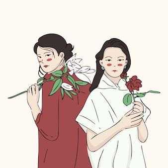 서로 기대어 꽃을 들고 두 아시아 여자, 여성 연대 개념 그림