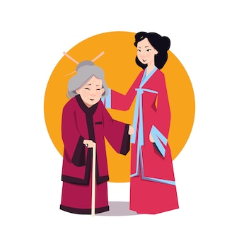 Two asian woman in japanese kimono