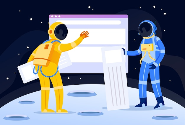 Two astronauts building a website illustration concept page