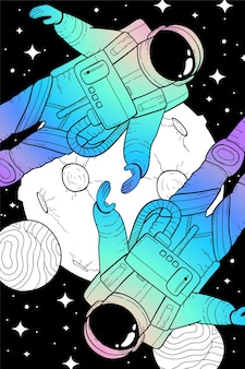Two astronauts with fantastic planets in the universe