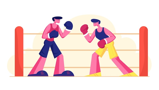 Two athletic men wearing gloves boxing on sports ring