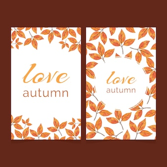 Two autumn cards with bright watercolor leaves