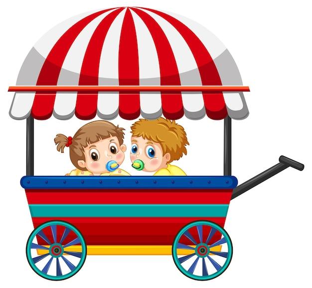 마차에 두 아기