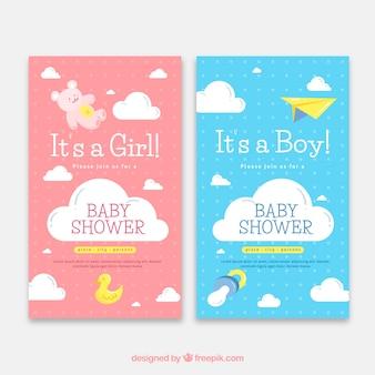 Два шаблона приглашения для душа для ребенка